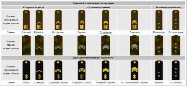 Погоны в армии