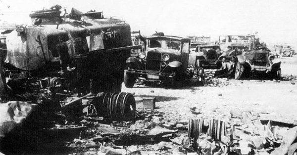 Уничтоженная техника 2-й стрелковой дивизии под Вязьмой, 1941 год