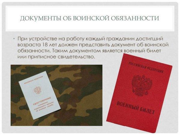 Документы о воинской обязанности