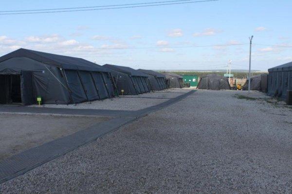 Палаточный лагерь в условиях полевых учений